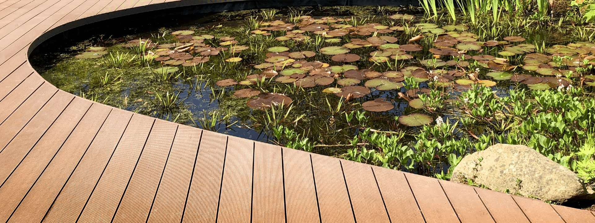 HD Deck XS beside pond